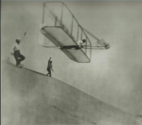 The Wright Brothers with their first successful glider. Photo courtesy of Corbis.