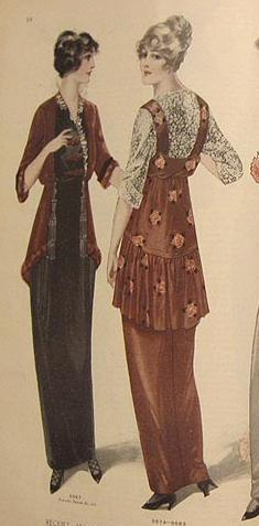 Fashion Plate from 1914 illustrating the start of the boyish silhouette and the move from corsets.