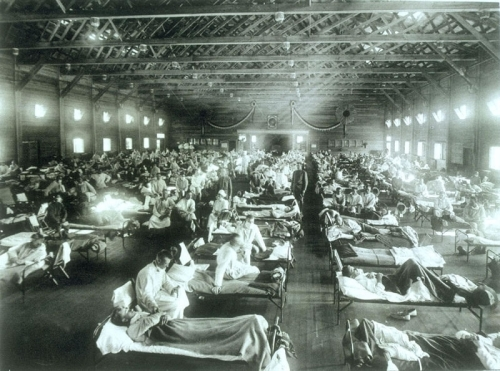 A make-shift influenza hospital in Kansas.  Photo courtesy of National Museum of Health and Medicine.