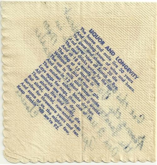 Backside of cocktail napkin.
