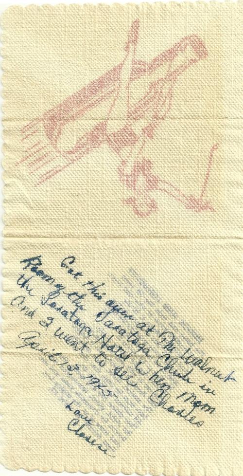 Inscription inside of cocktail napkin.