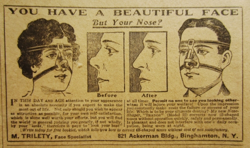 Can you imagine wearing this to perfect your nose?  It looks like it would hurt more than it would actually change your nose!  This advert is from the April 1917 copy of The Gentlewoman Magazine.