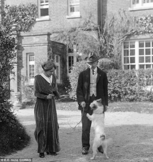 Thomas and Florence with their dog Wessex at Max Gate.  Photo courtesy of E.R. Hobbs.