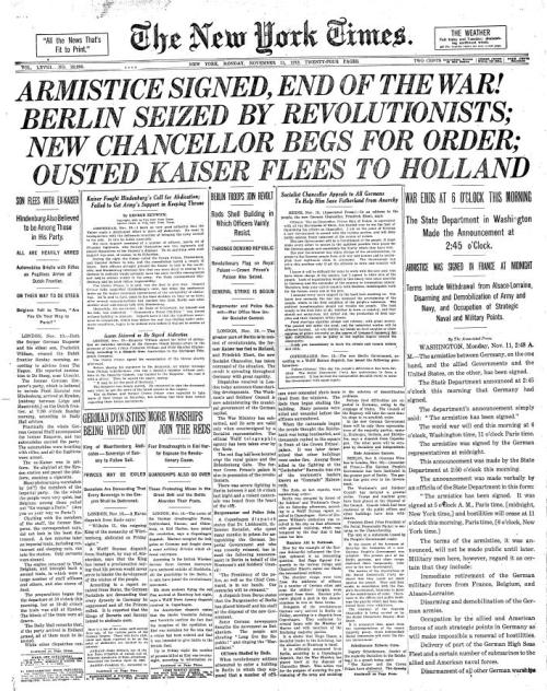 Front page of the NY Times, 11/11/1918.