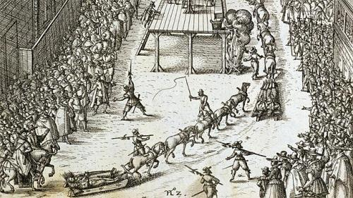 German engraving depicting the execution of Guy Fawkes, 1606.  Photo courtesy of Bridgman Art Library Ltd and the BBC.