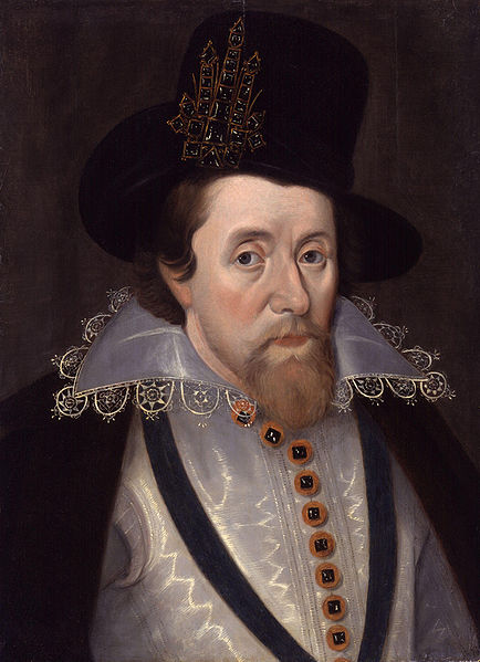 James I by John De Critz the Elder before 1647.  In the Collection of London's National Portrait Gallery.