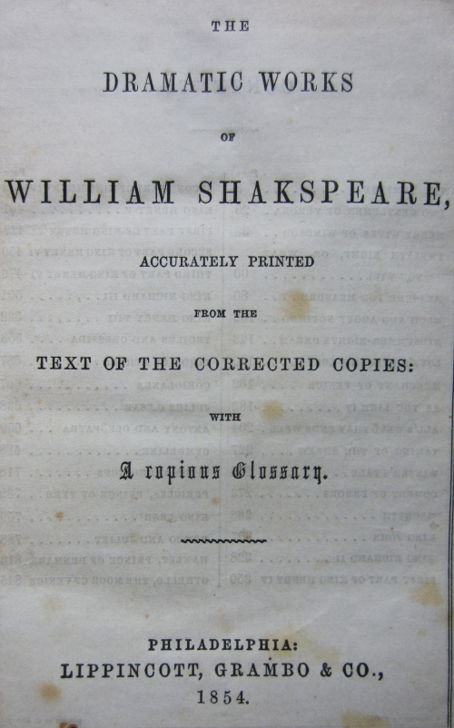 shakespeare titlepage