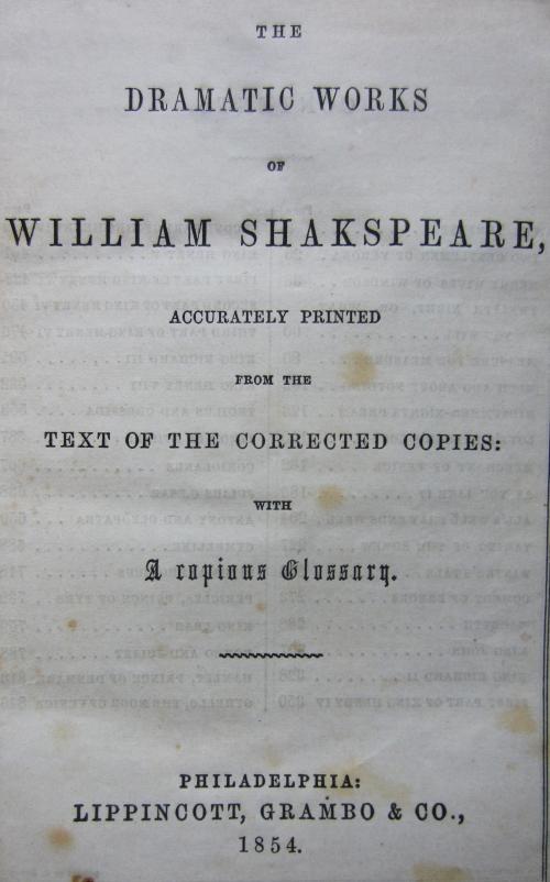 shakespeare titlepage