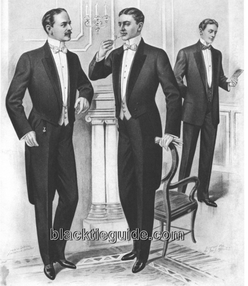 Take in the entire White Tie attire, but notice all three men's hair, 1906. Image courtesy of Button Down Services, Inc.