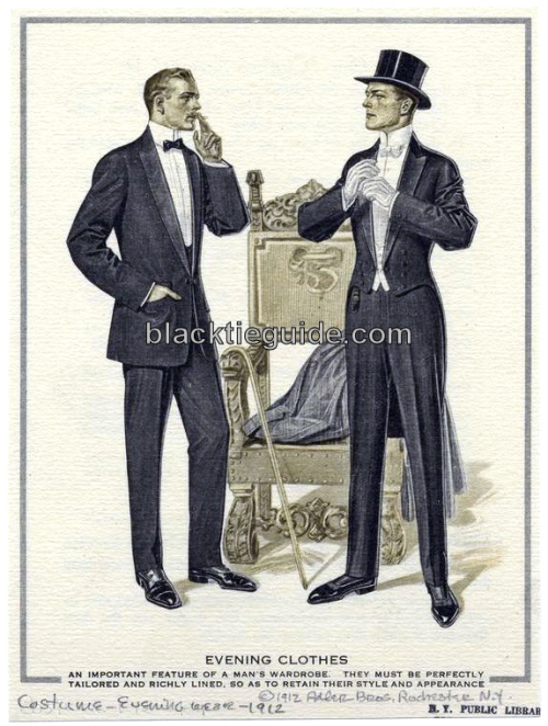 White Tie vs. Black Tie, seen in an Alder Bros 1912 advertisement.  Image courtesy of Button Down Services, Inc.