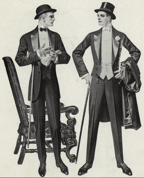 The man on the right illustrates the 'winged' collar in his White Tie formal wear, 1912. Image courtesy of Button Down Services, Inc.