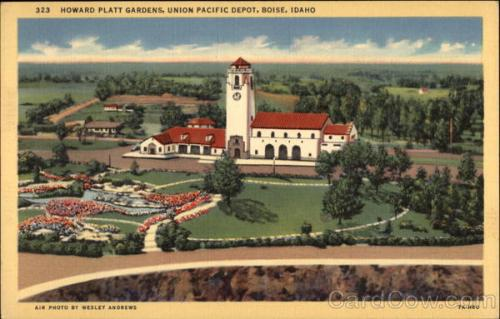 Boise Depot and Gardens. Image courtesy of Cardcow.