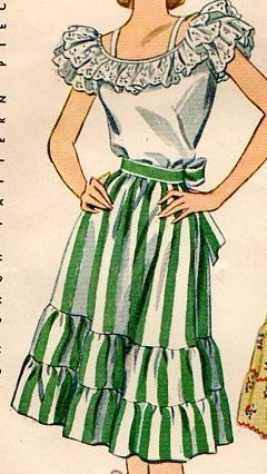 Pattern for a dirndl skirt, 1940s.