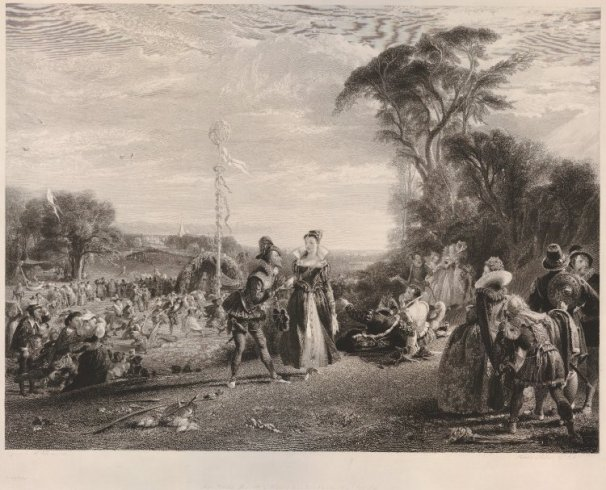 Engraving of Charles Leslie's May Day in the Reign of Queen Elizabeth, c. 1836.  Image courtesy of the British Museum, London.