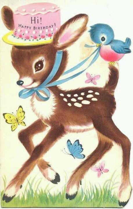 deer and bluebird