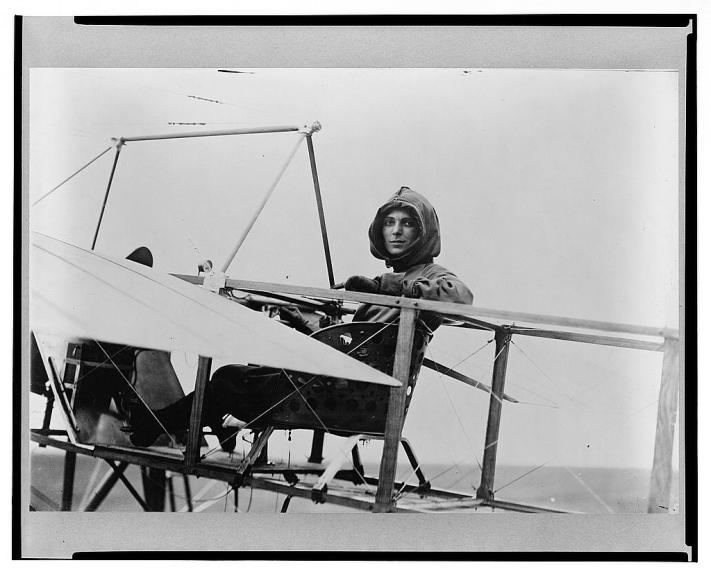 Harriet Quimby, in the cockpit of her Bleriot XI.  Image courtesy of the Library of Congress.