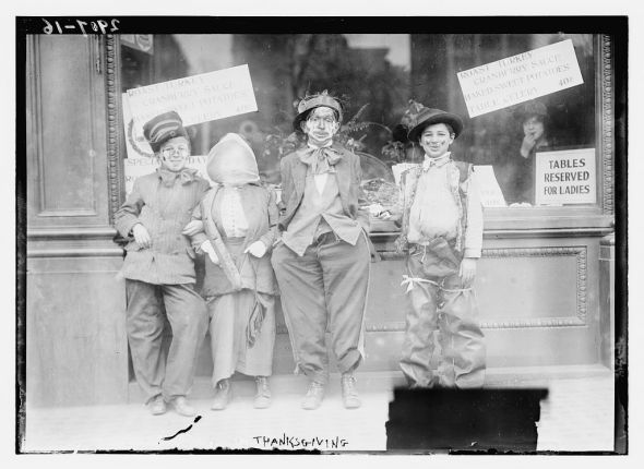 Thanksgiving maskers, c. 1910. Image courtesy of the Library of Congress.