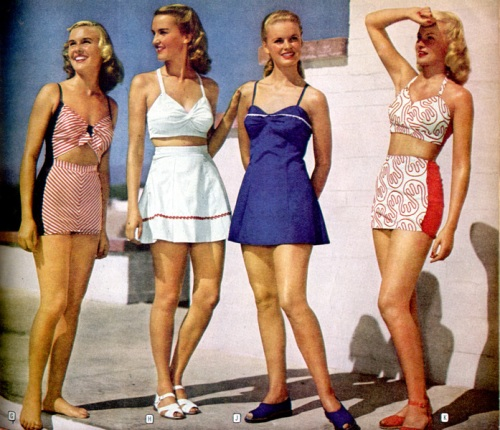 Swimsuits from the 1946 Montgomery Ward Summer catalog.  The bikini was first introduced in 1946, but wasn't mainstream until the 1960s.