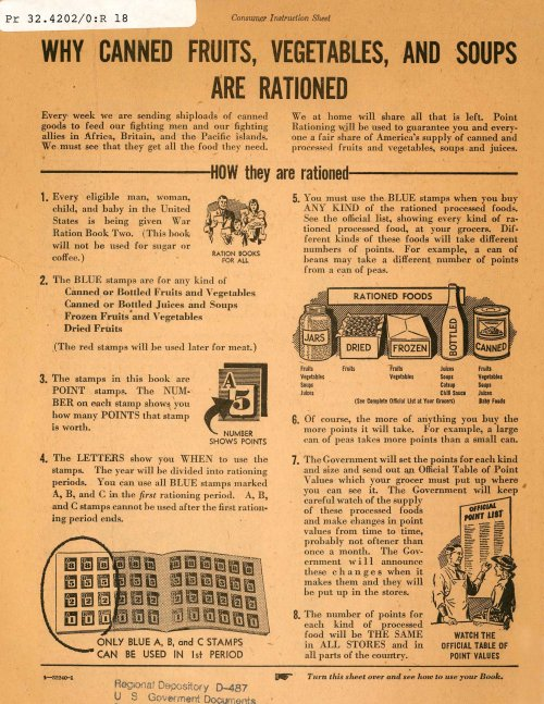 Consumer instruction sheet for rationing.  Image courtesy of the Oklahoma Department of Libraries.