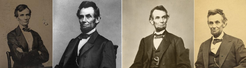 Lincoln in 1860, 1863, 1864, and 1865.