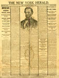 The New York Herald's announcement on the assassination of Abraham Lincoln.